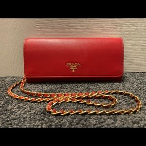 Prada Saffiano Leather Wallet on Chain - Red